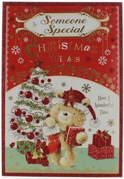 "Someone Special Christmas Card - Cute Bear, Xmas Tree & Presents Glitter 9"" x 6"""