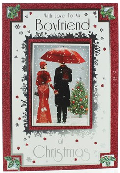 """Boyfriend Christmas Card - Couple Dressed Up In Snow with Glitter & Foil 10 x 7"""""""