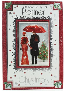 """Partner Christmas Card - Couple Dressed Up In Snow with Glitter & Foil 10"""" x 7"""""""