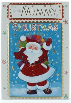 "Mummy Christmas Card - Cute Santa with Pom Pom Glitter and Gold Foil 9.5"" x 6.75"