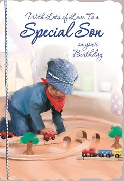 "Son Birthday Card - Little Boy, Navy Blue Flat Cap & Wooden Train Set 8.75"" x 6"""