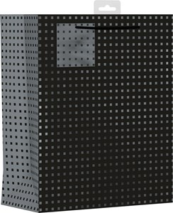 """2 x Large Male Gift Bags - Black With Silver Squares 13"""" x 10.25"""""""