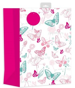 """2 x Large Female Gift Bag - White With Pink & Green Butterflies 13"""" x 10.25"""""""