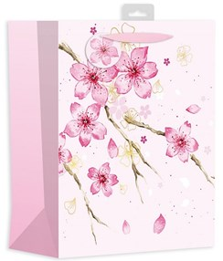 """2 x Large Female Gift Bags - Bright Pink Flowers & Branches 13"""" x 10.25"""""""