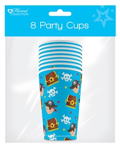 Pack of 8 Childrens Birthday Party 9oz Paper Cups - Boys Pirate
