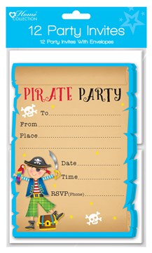 Pack Of 12 Children's Party Invites & Envelopes - Boy's Pirate Invitations