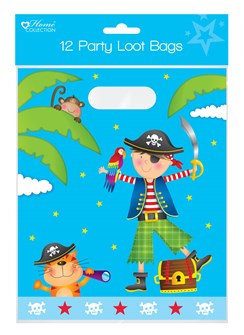 Pack of 12 Childrens Birthday Party Plastic Loot Bags - Boys Pirate