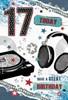 "Age 17 Boy Birthday Card - Headphones Record Player & Stars 8.5"" x 5.75"""