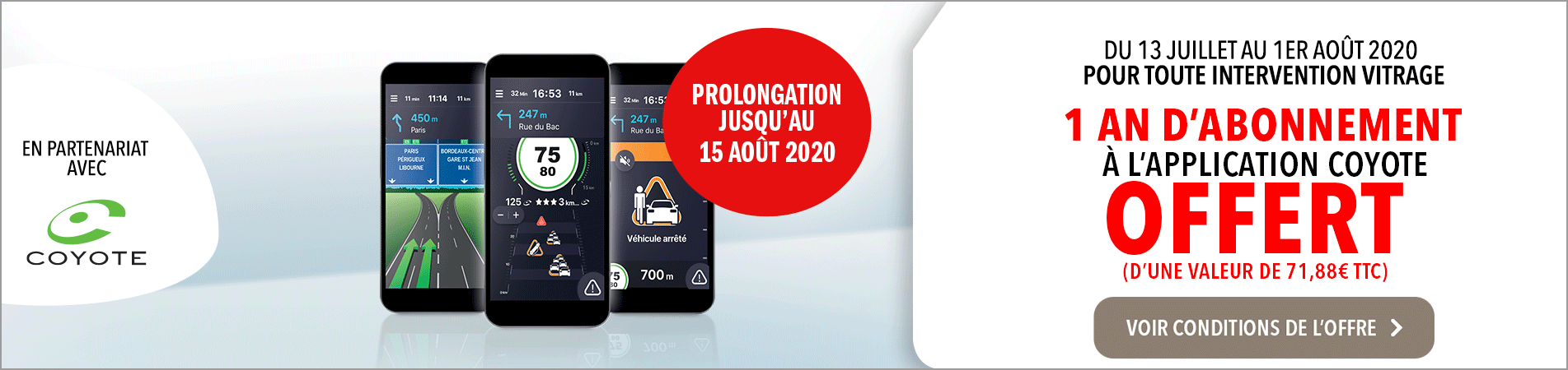 1 an offert d'abonnement à l'application coyote avec carglass®