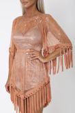 Gypsy Lace Tassel Boho Mini Dress in Burnt Orange
