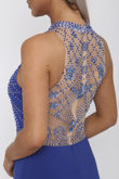 Beaded Halter Gown in Royal Blue