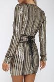 Neptune Long-Sleeve Sequin Mini Dress in Black & Gold