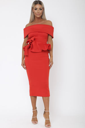 Tammy Bardot Midi Two-Piece in Red