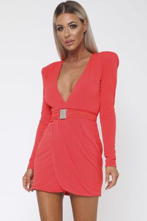 Sade Long Sleeve Mini Dress in Red