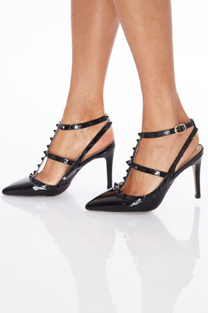 Angelina Studded Heels in Black Patent