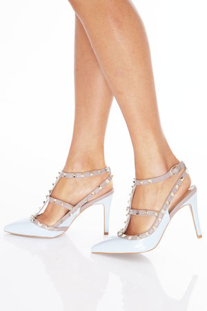 Angelina Studded Heels in Blue Patent