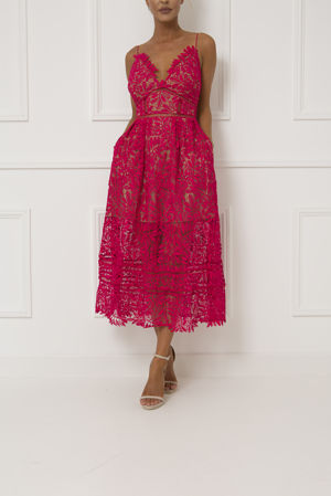 Alex Lace Midi Dress in Red