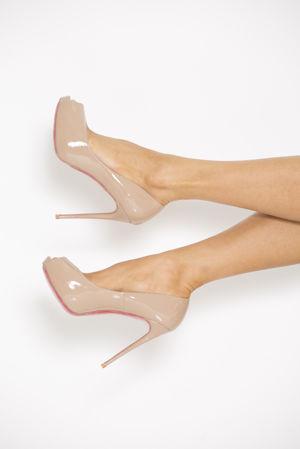 Peep Toe Patent Heels in Nude