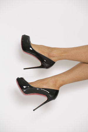 Peep Toe Patent Heels in Black