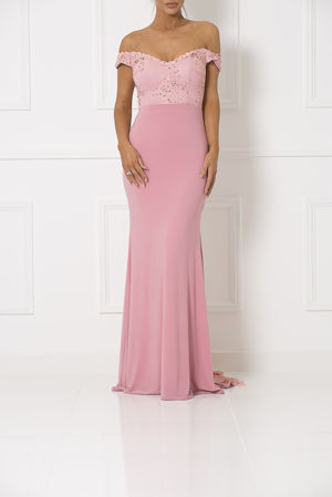 Bardot Lace Train Gown in Blush