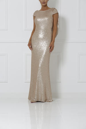 Rose Gold Draped Back Sequin Gown