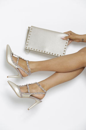 Gift Set - Angelina Studded Heels in Gold & Matching Clutch