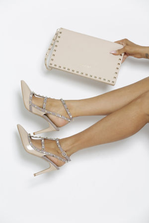 Gift Set - Angelina Studded Heels in Nude & Matching Clutch