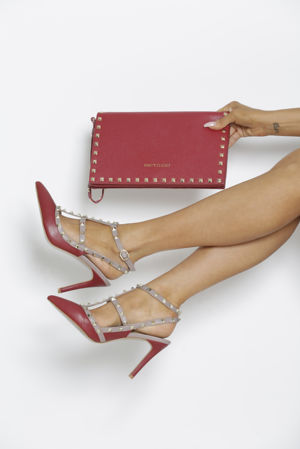 Studded Envelope Clutch Bag in Wine