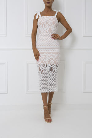 Audrina Lace Midi Dress in White
