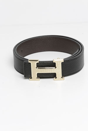 Reversible Leather Gold H Belt