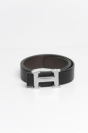 Reversible Leather Silver H Belt