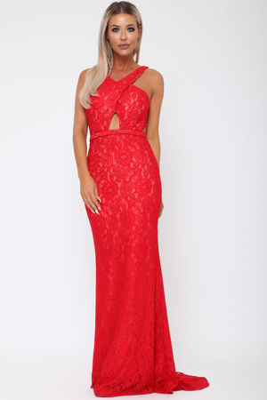 Harper Lace Backless Gown in Red