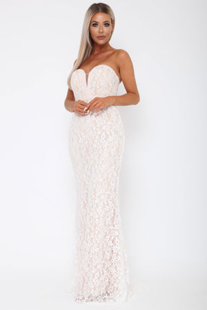 Madison Sweetheart Lace Gown in Ivory