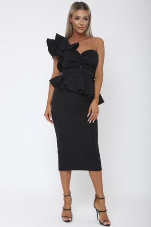 Michelle Bardot Midi Two-Piece in Black