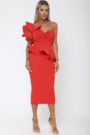 Michelle Bardot Midi Two-Piece in Red