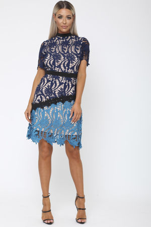 Rose Lace Mini Dress in Navy & Teal