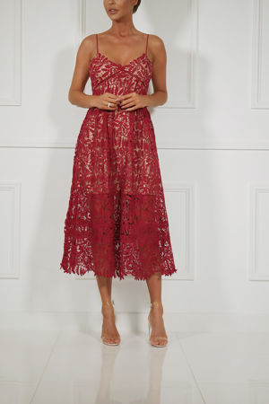 Alex Lace Midi Dress in Burgundy