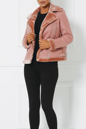 Ania Faux Suede Jacket with Faux Fur Interior in Pink