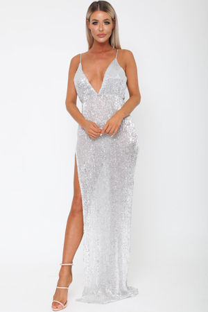 Belinda Sequin Long Gown in Silver