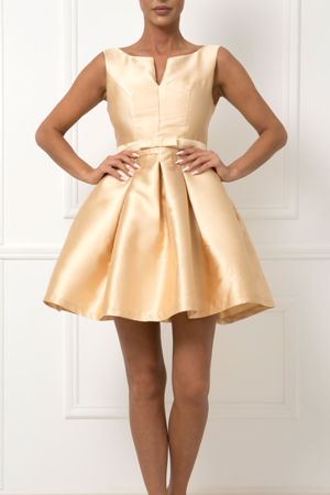 Bow Mini Dress in Gold