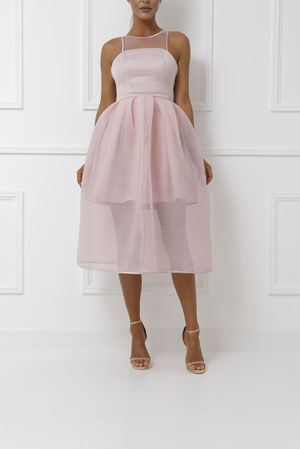 Piper Midi Mesh Overlay Dress in Pink