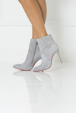 Suede Red Sole Ankle Boot in Grey
