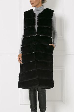Chrissie Faux Fur Gilet in Black