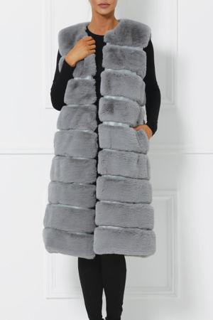 Chrissie Faux Fur Gilet in Grey