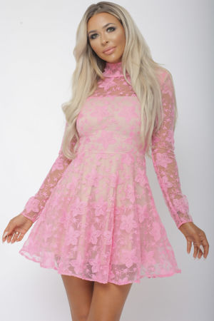 Hannah Long Sleeve Lace Mini Dress in Pink
