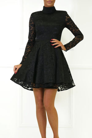 Hannah Long Sleeve Lace Mini Dress in Black