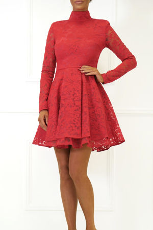 Hannah Long Sleeve Lace Mini Dress in Red