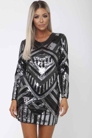 Havana Sequin Mini Long Sleeve Shift Dress in Black & Silver