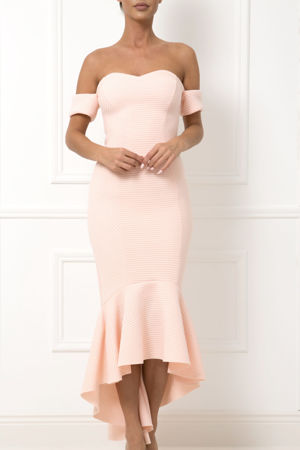 Heidi Bardot Midi Fishtail Dress in Peach