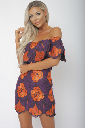 Jenina Bardot Floral Print Mini Bodycon Dress in Purple & Orange